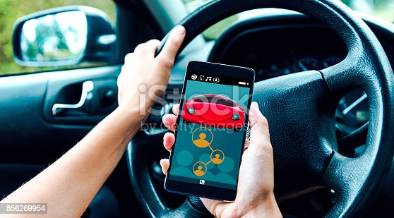 istock Disruptive app for car sharing connects people and let them share rides and cut cost 856269954