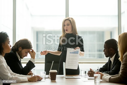 istock Dissatisfied female executive scolding employees for bad work at meeting 923039602