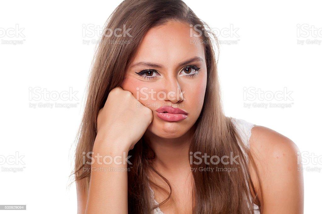 dissatisfied girl stock photo