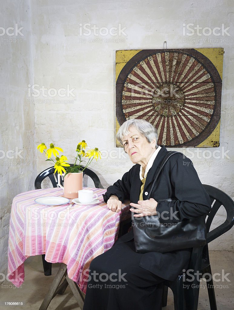 Dissatisfied in the Tea Room royalty-free stock photo