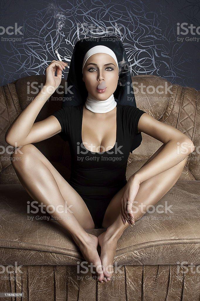 dissolute nun stock photo