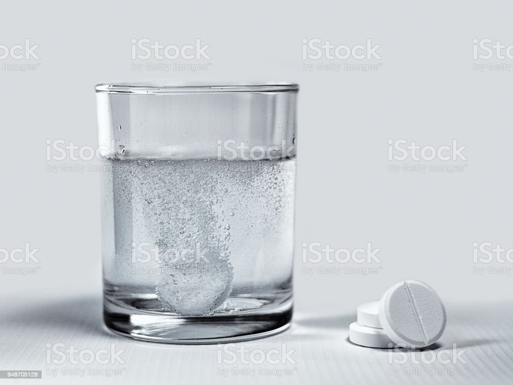 Dissolving effervescent tablets stock photo
