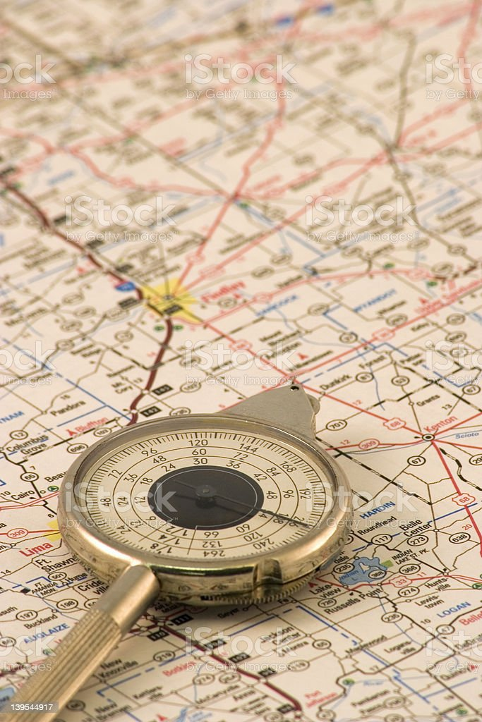 Distance Measured on a Road Map stock photo