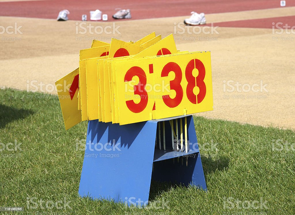 distance number plates on the athletic field royalty-free stock photo