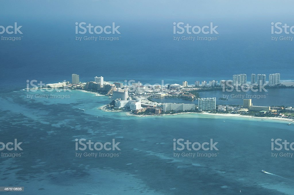 Distance shot of Cancun shoreline stock photo