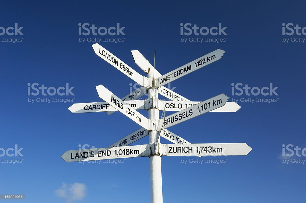 Distance sign stock photo