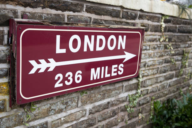 Distance sign with arrow stock photo