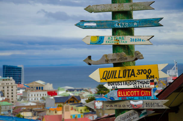 Distance signs in Punta Arenas stock photo