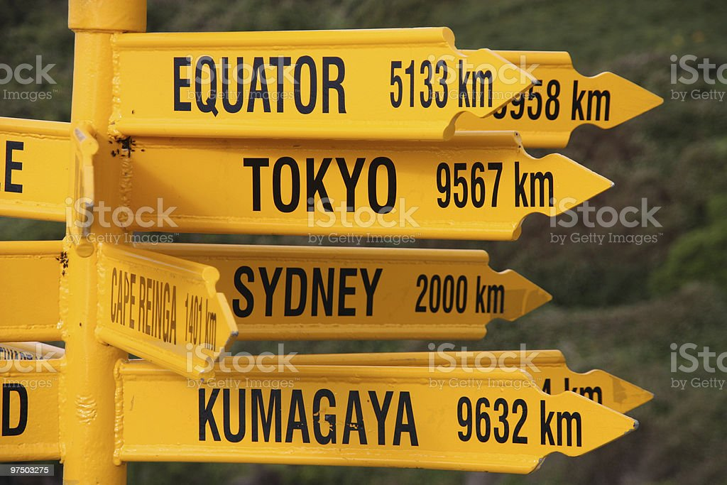 Distance signs royalty-free stock photo