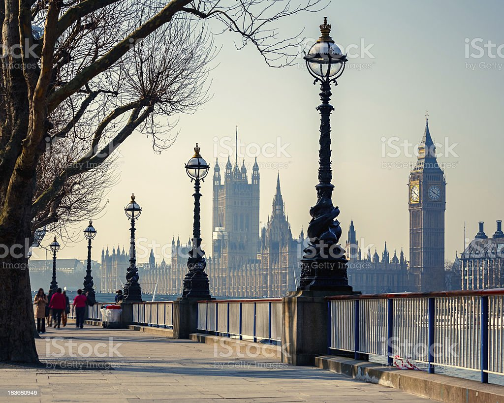 Distance view of Big Ben and House of parliament in London stock photo