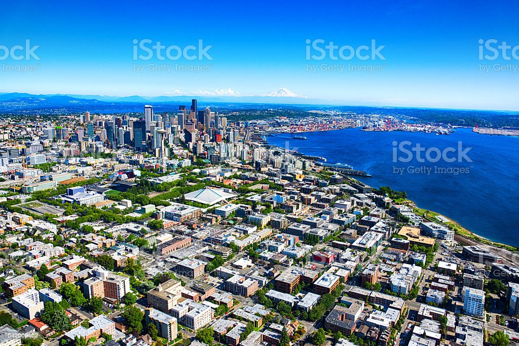 Distant Aerial View of the Seattle Skyline and Metro Area stock photo