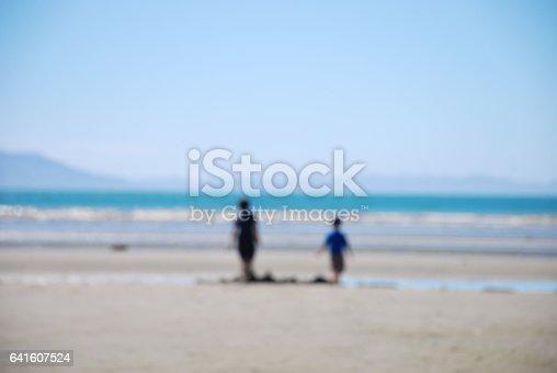 istock Distant Children at the Beach, Completely Defocussed 641607524