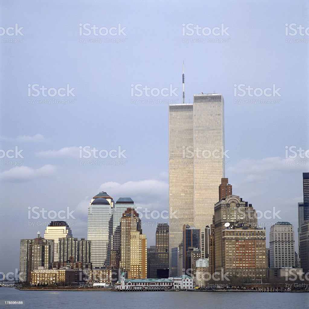 A distant evening photo of the NYC Skyline and Twin Towers stock photo