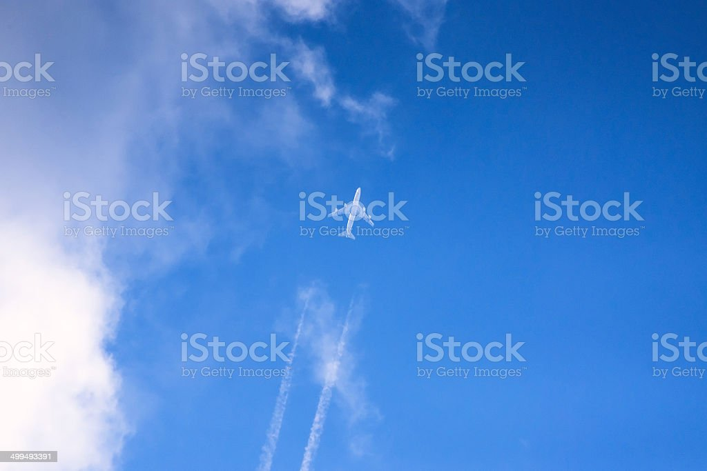 Distant jet plane on the sky stock photo