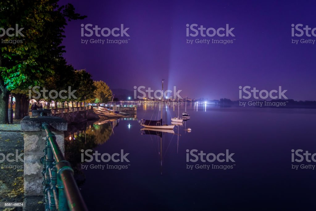 Distant lights reflection stock photo