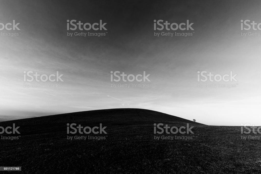 Bir uzak, aslında ağaç beyaz bulutlar ile derin bir gökyüzü altında çıplak bir tepe üzerinde - Royalty-free Arazi ufuk Stok görsel