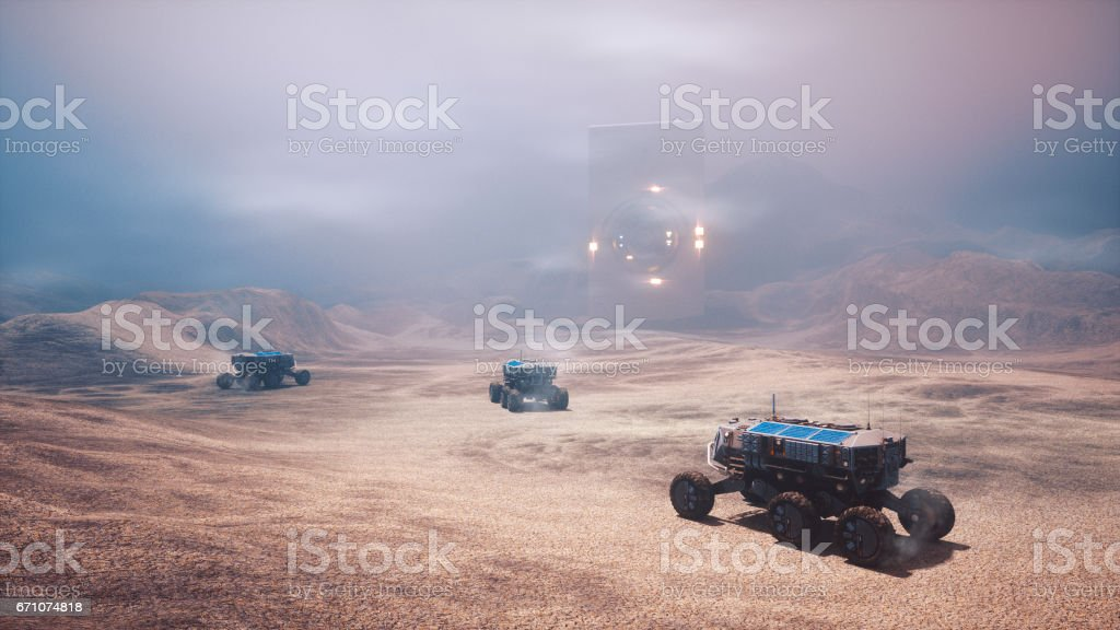 Distant planet colonization stock photo