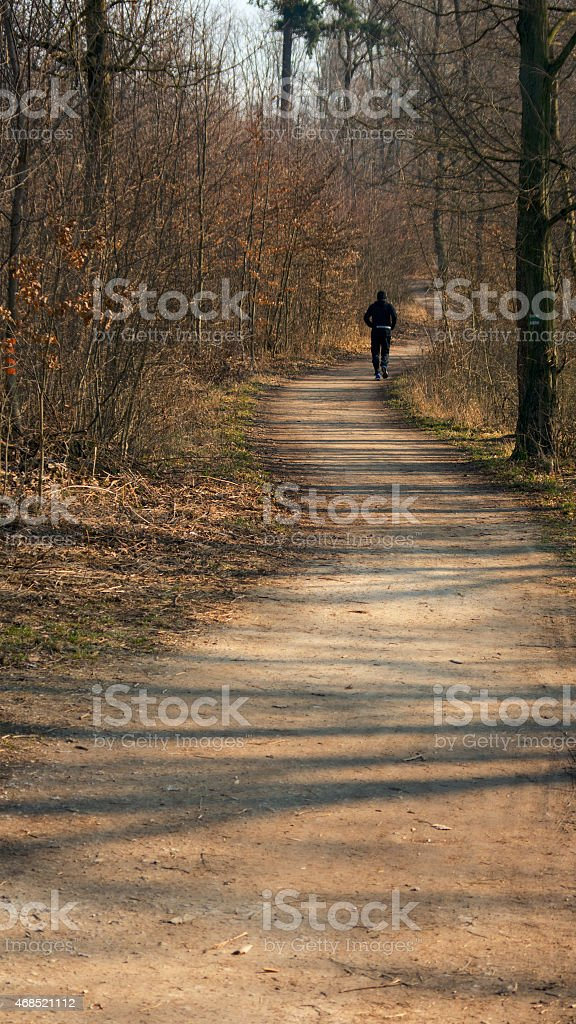 Distant runner on the twisting forest road stock photo