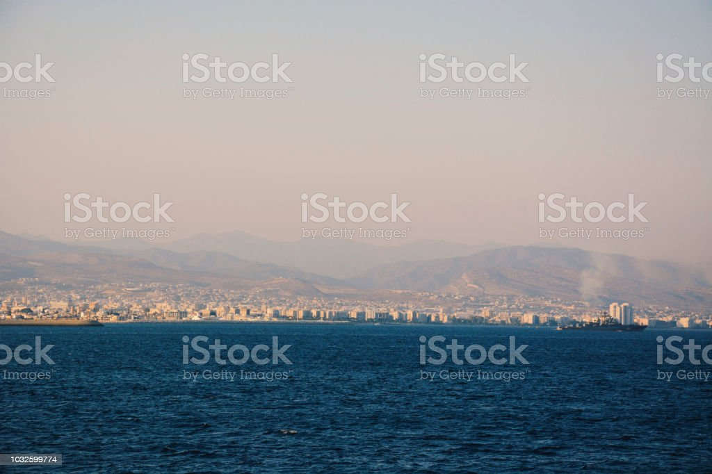 Distant Shot of Sea Front Promenade in the City Limassol stock photo