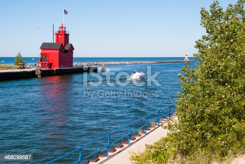 istock Distant View Big Red Lighthouse Holland Michigan 468099587