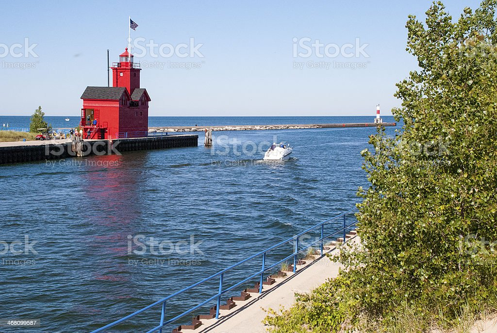 Distant View Big Red Lighthouse Holland Michigan stock photo