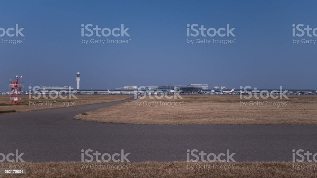 Distant view of architectures of an airport stock photo