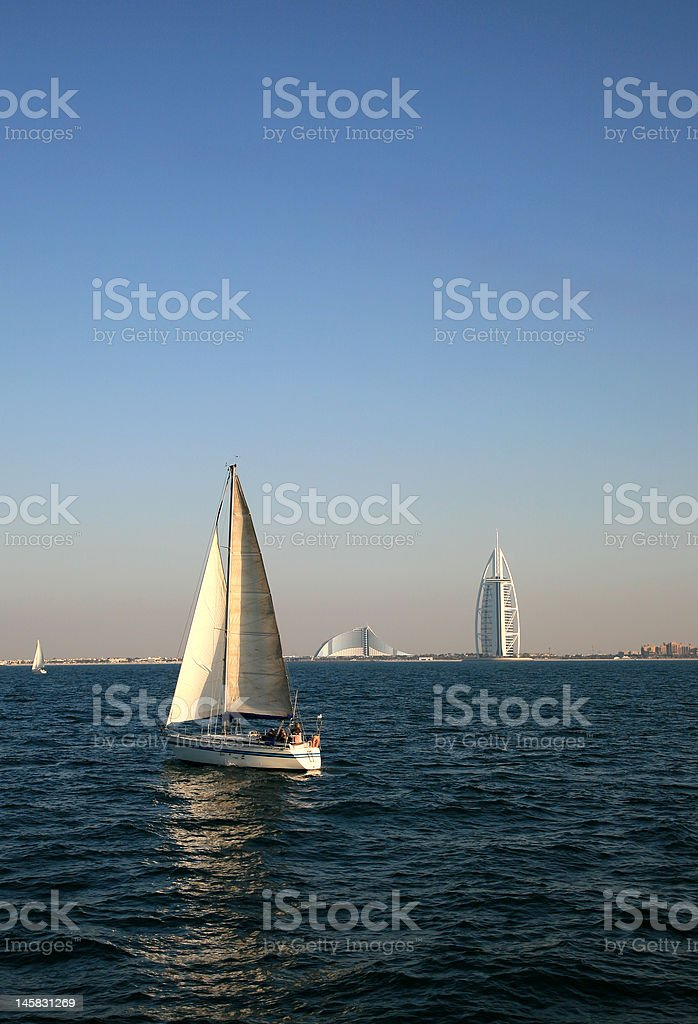 Distant View of Burj Arab stock photo