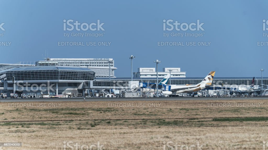 Distant view of Centrair International Airport stock photo
