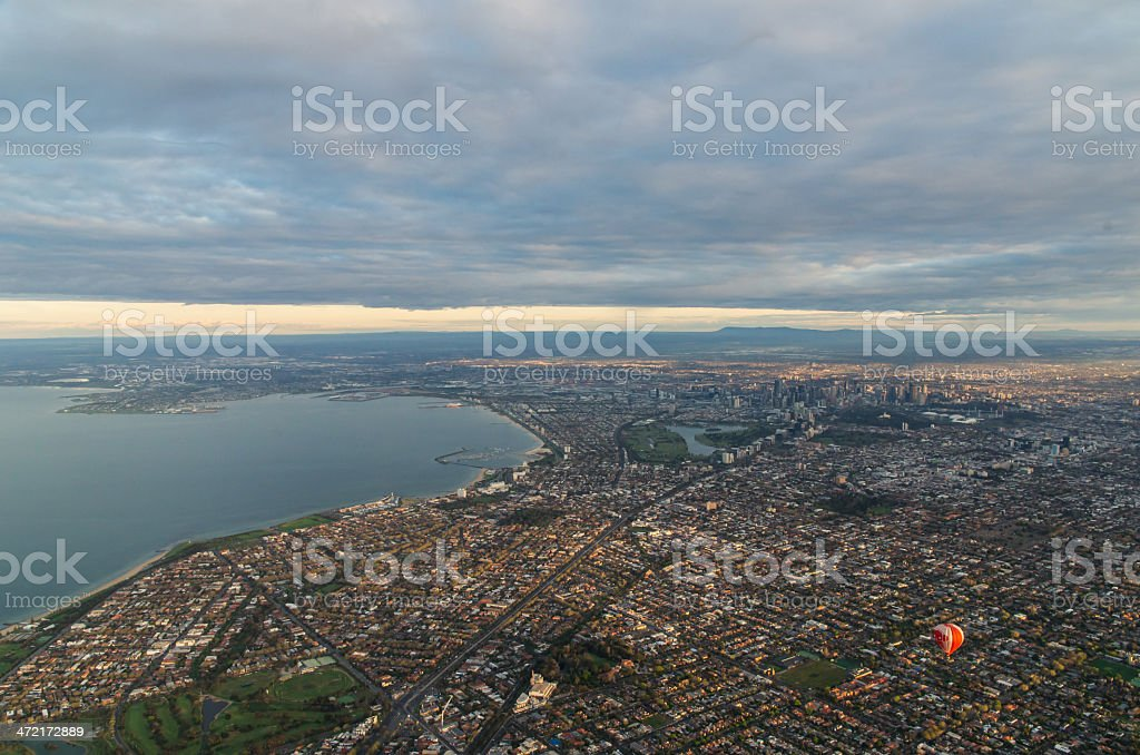 Distant view of Melbourne stock photo