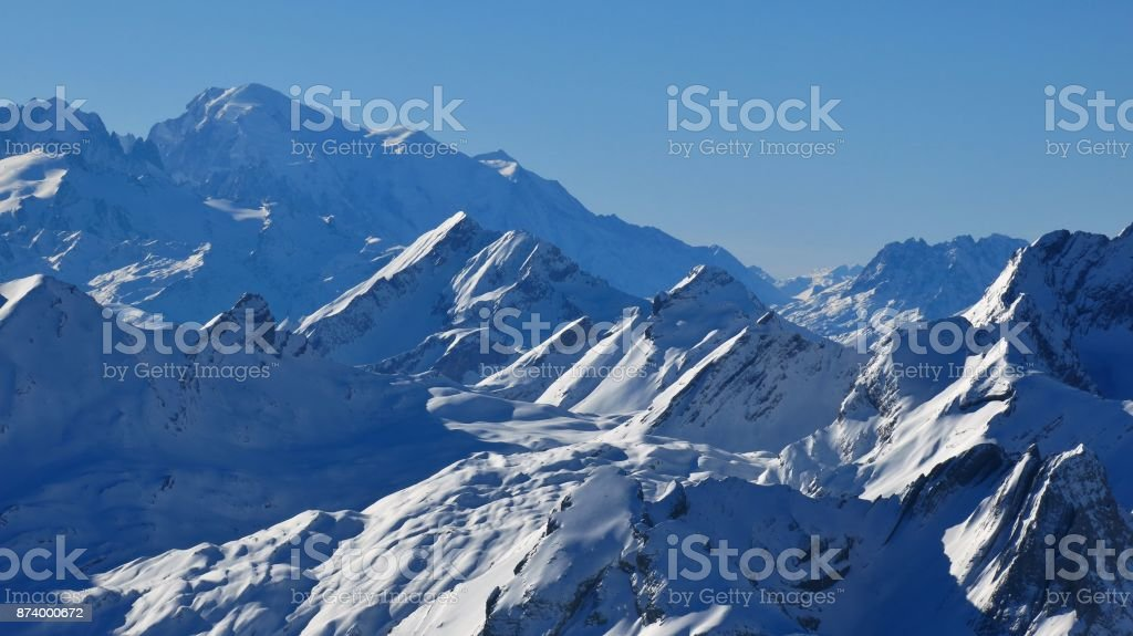 Distant view of Mont Blanc. Clear winter day in the Swiss Alps. stock photo