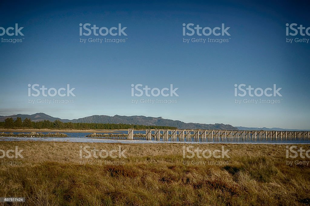 distant view of mt. st. helens stock photo