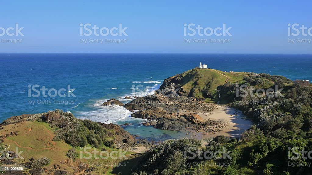 Distant view of the Tacking Point Lighthouse stock photo