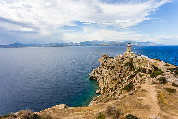 distant view on lighthouse in Melagavi stock photo