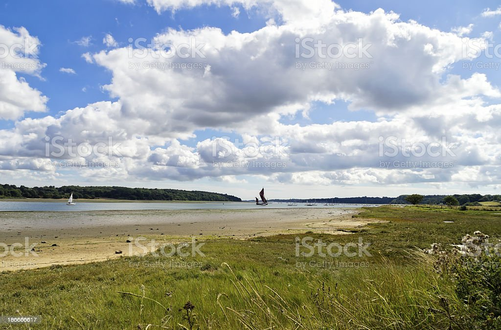Distant wherry on the Orwell royalty-free stock photo
