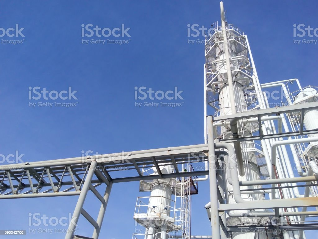 Distillation columns and heating furnace royalty-free stock photo
