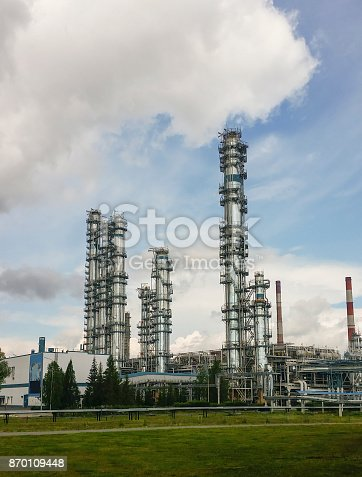 istock Distillation columns at a petrochemical plant 870109448