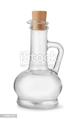 Bottle of distilled white vinegar isolated on white
