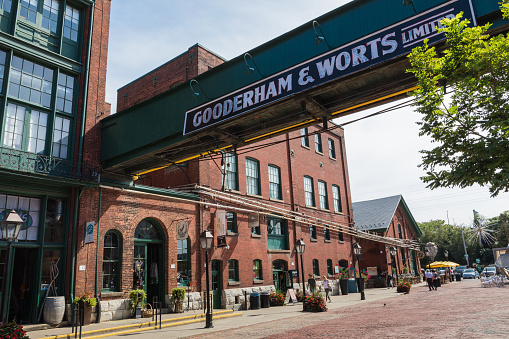 Toronto Canada September 18 2018 Distillery District Historic And Entertainment Precinct It Contains Numerous Cafes Restaurants Shops And Industrial Parts Stock Photo - Download Image Now