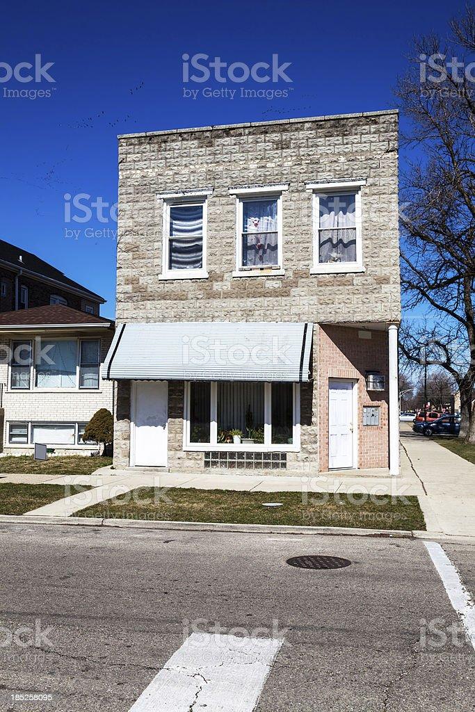 Distinctive vintage house in West Elsdon, Chicago royalty-free stock photo
