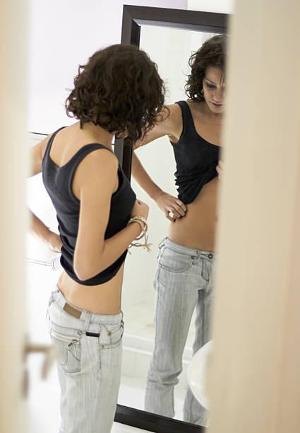 Distorted self-image stock photo