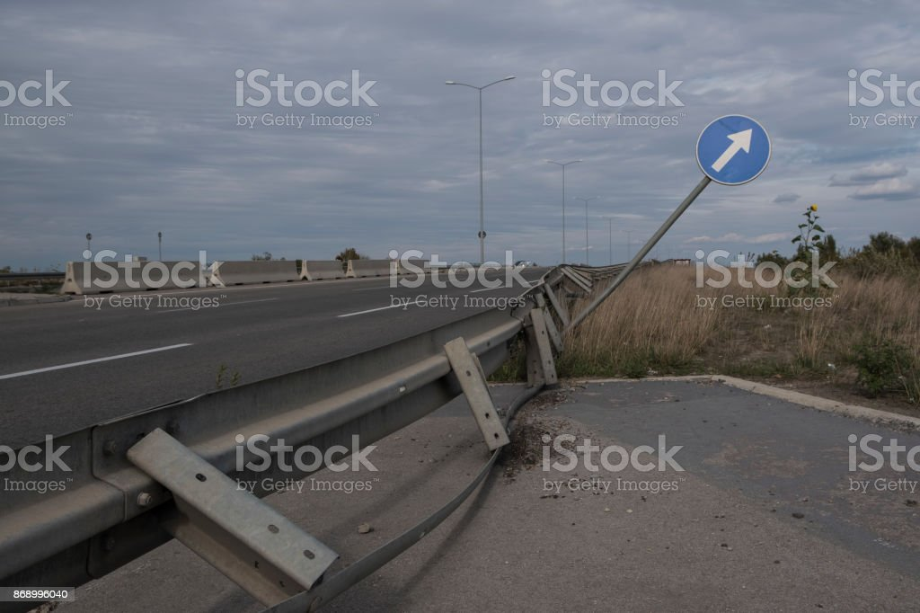 Distorted traffic sign stock photo
