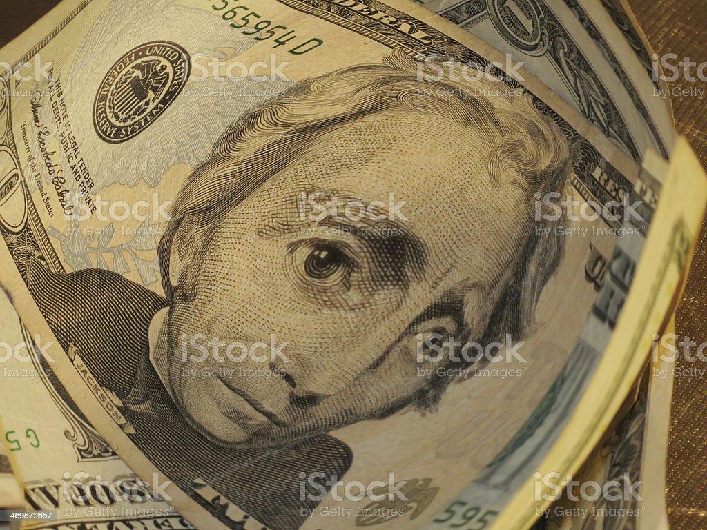 Distorted Twenty Dollar Bill stock photo