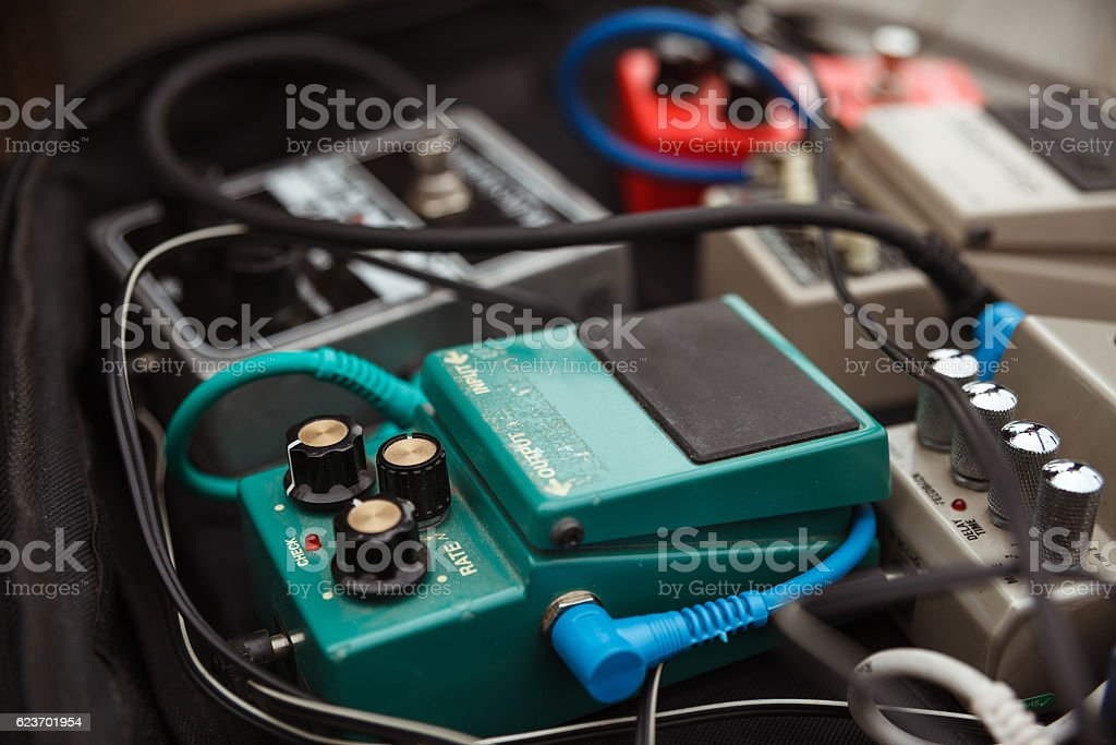 distortion effect pedals and amplifiers Selective focus stock photo