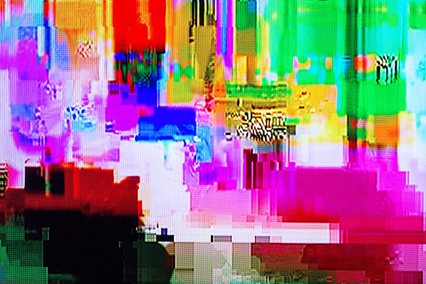 distortion on the screen broadcast digital TV colorful abstract background texture. glitches, distortion on the screen broadcast digital TV satellite channels inconvenience stock pictures, royalty-free photos & images