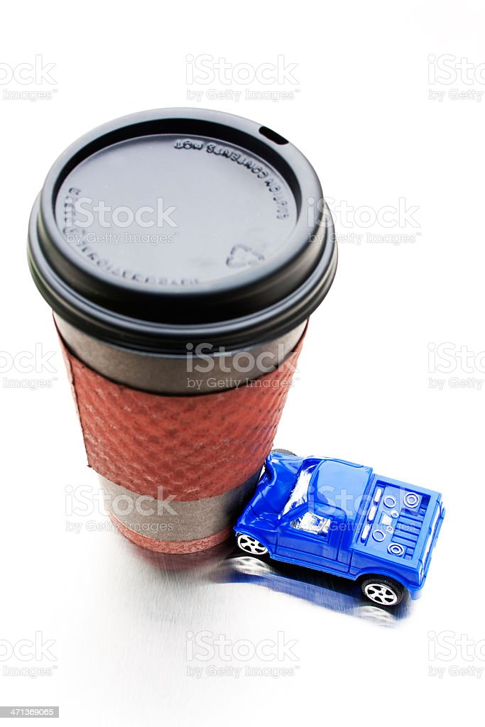 Distracted Driving - Latte Crash stock photo