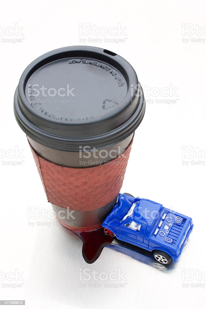 Distracted Driving - Latte Crash with Blood stock photo