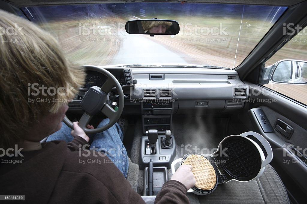 Distracted Teen Driver - Waffles royalty-free stock photo