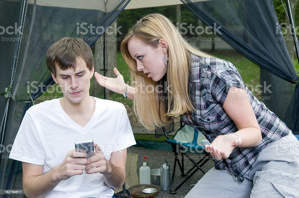 Distracted while Camping royalty-free stock photo