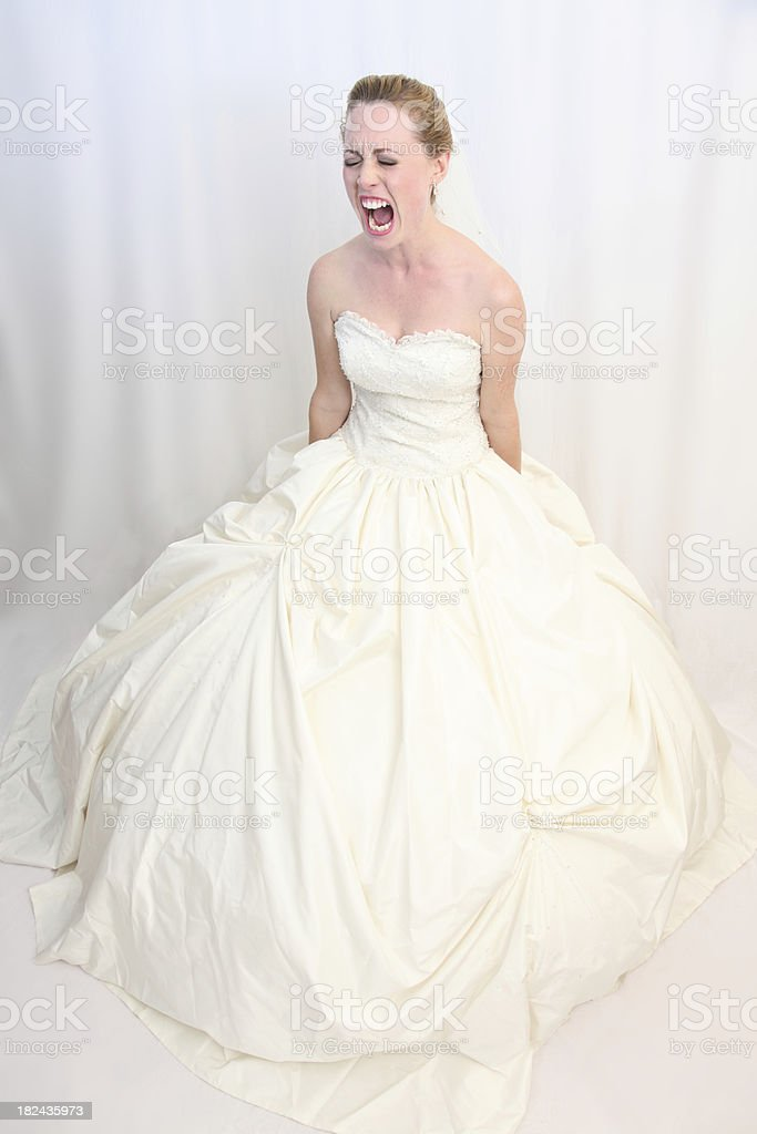 Distraught bride shouting royalty-free stock photo