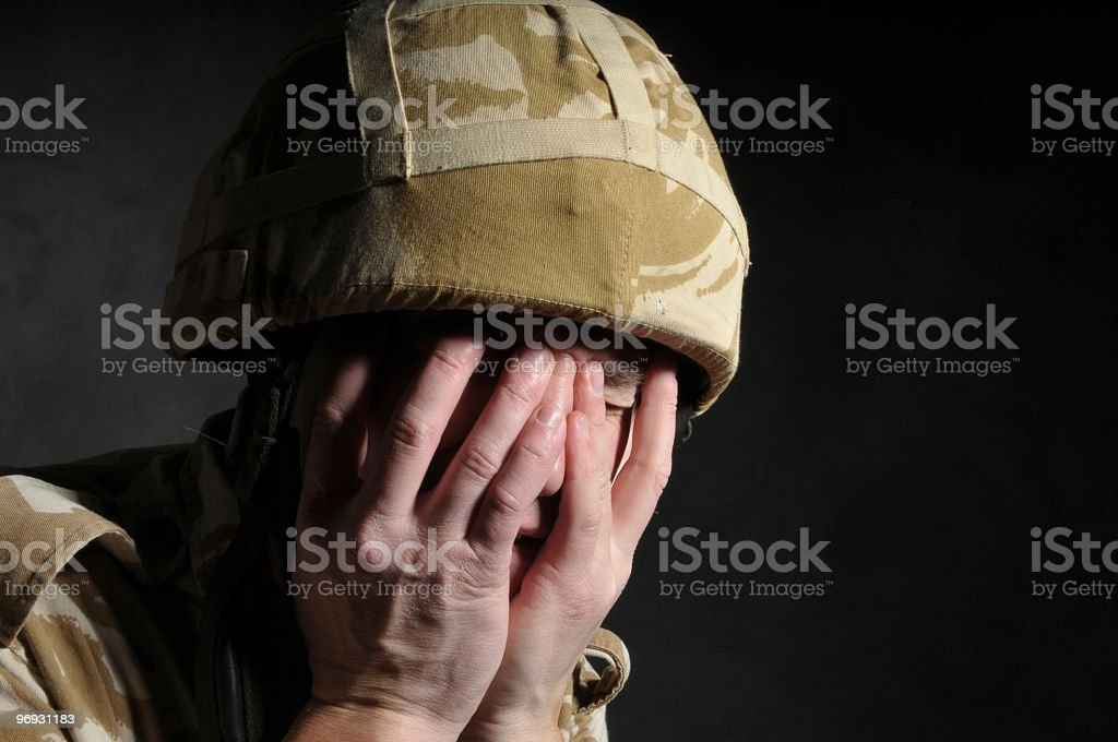 Distraught British Soldier royalty-free stock photo
